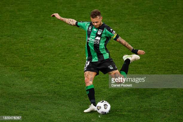 Alessandro Diamanti of Western United kicks at goal during the A-League match between Western United and Melbourne Victory at AAMI Park, on May 28 in...