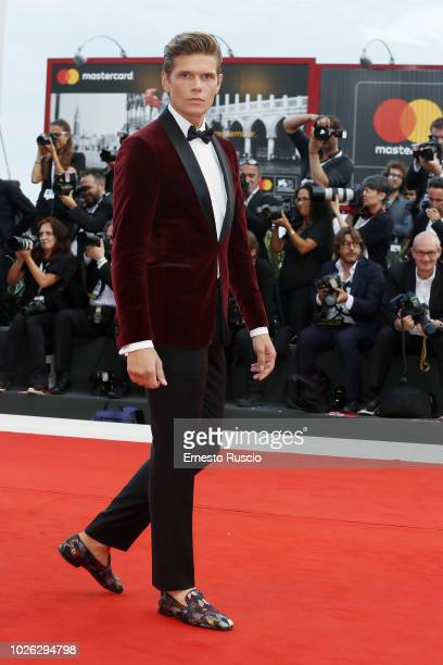 Alessandro Egger walks the red carpet ahead of the 'The Sisters Brothers' screening during the 75th Venice Film Festival at Sala Grande on September...