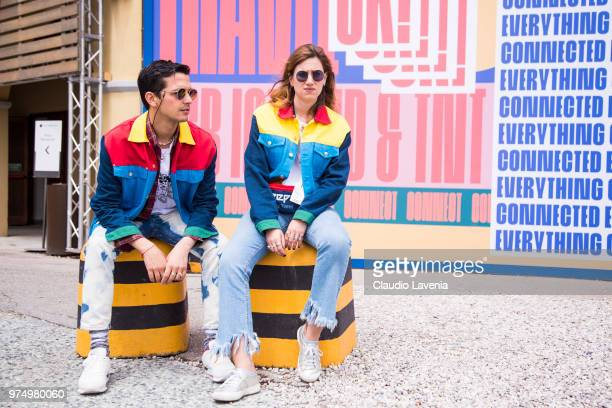 Alessandro Enriquez and guest are wearing Alessandro Enriquez jacket during the 94th Pitti Immagine Uomo at Fortezza Da Basso on June 14 2018 in...