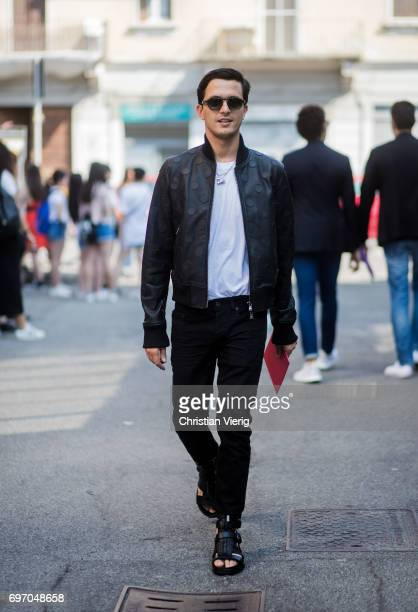 Alessandro Enriquez is seen outside Diesel during Milan Men's Fashion Week Spring/Summer 2018 on June 17 2017 in Milan Italy