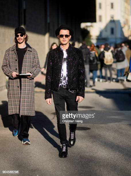 Alessandro Enriquez is seen outside Diesel during Milan Men's Fashion Week Fall/Winter 2018/19 on January 13 2018 in Milan Italy