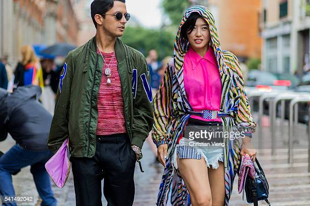 Alessandro Enriquez wearing an olive bomber jacket outside Missoni during the Milan Men's Fashion Week Spring/Summer 2017 on June 19 2016 in Milan...