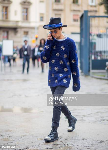 Alessandro Enriquez wearing blue hat knit is seen during the 93 Pitti Immagine Uomo at Fortezza Da Basso on January 11 2018 in Florence Italy