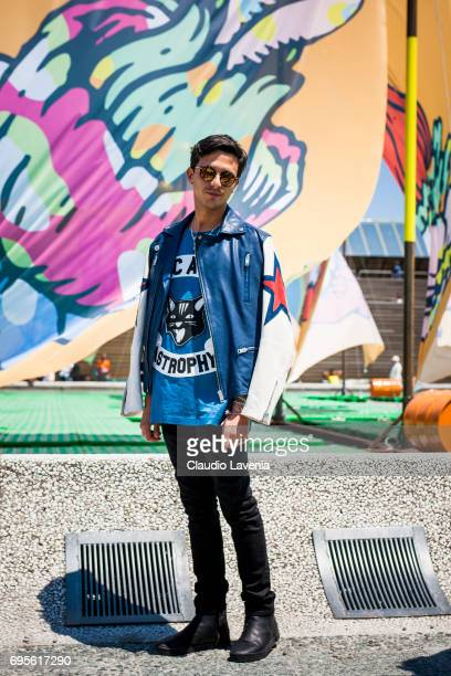 Alessandro Enriquez wears Diesel total look during Pitti Immagine Uomo 92 at Fortezza Da Basso on June 13 2017 in Florence Italy