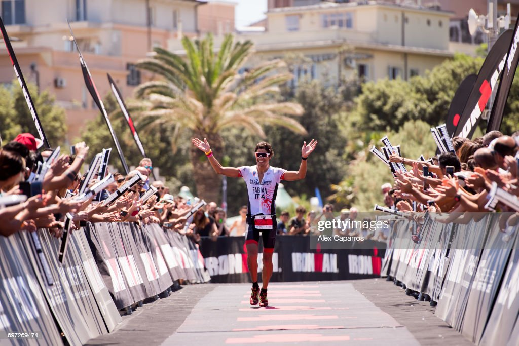 Alessandro Fabian of Italy celebrates as he finishes in 4th place Ironman 70.3 Italy race on June 18, 2017 in Pescara, Italy.