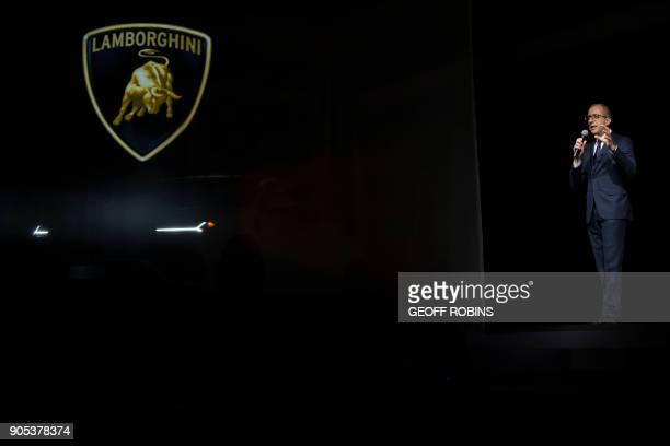 Alessandro Farmeschi CEO Automobili Lamborghini America unveils the Lamborghini Urus at a press event alongside the 2018 North American International...