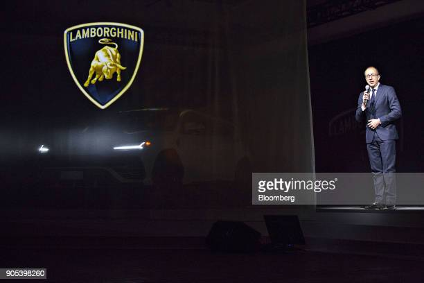 Alessandro Farmeschi chief operating officer of Automobili Lamborghini SpA speaks during the 2018 North American International Auto Show in Detroit...