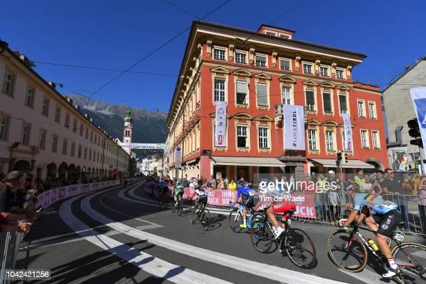 Alessandro Fedeli of Italy / Nikolai Cherkasov of Russia / Bjorg Lambrecht of Belgium / Innsbruck City / Landscape / Fans / Public / Peloton / during...