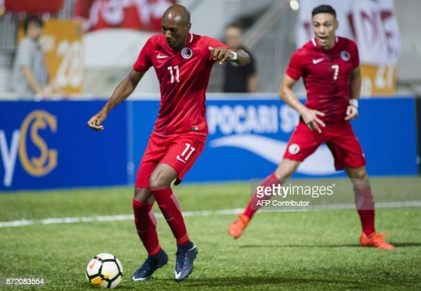 Alessandro Ferreira Leonardo of Hong Kong controls the ball during an international friendly match against Hong Kong at Mong Kok Stadium in Hong Kong...