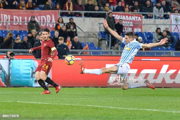 Alessandro Florenzi and Alberto Grassi during the Italian Serie A football match between AS Roma and Spal at the Olympic Stadium in Rome on december...