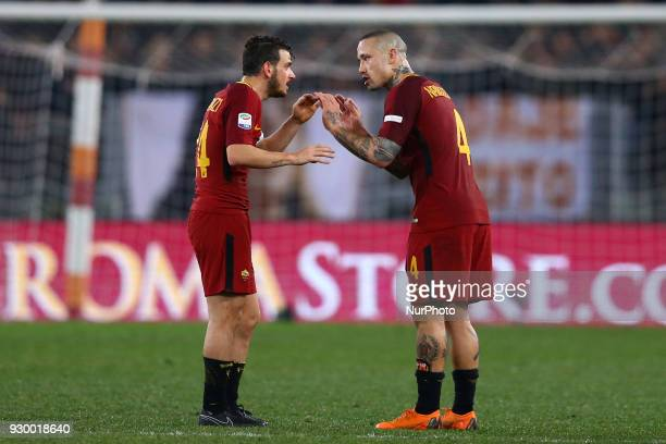 Alessandro Florenzi and Radja Nainggolan of Roma during the Italian Serie A football match between AS Roma and FC Torino at the Olympic Stadium in...
