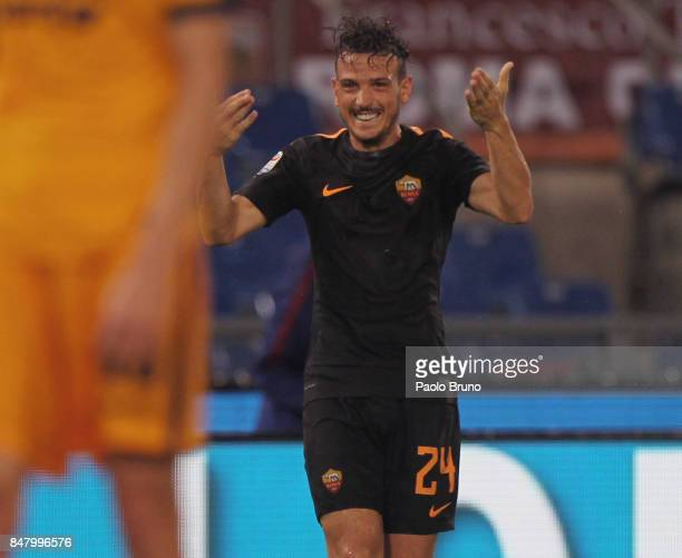 Alessandro Florenzi celebrates after the team's second goal scored by Edin Dzeko of AS Roma during the Serie A match between AS Roma and Hellas...