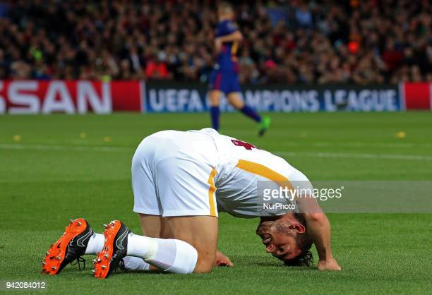 Alessandro Florenzi during the match between FC Barcelona and AS Roma for the first leg of the 1/4 final of the UEFA Champions League played at the...