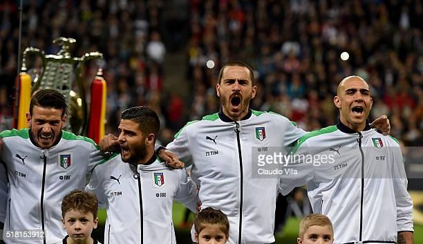 Alessandro Florenzi Lorenzo Insigne Leonardo Bonucci and Simone Zaza of Italy prior to the international friendly match between Germany and Italy at...