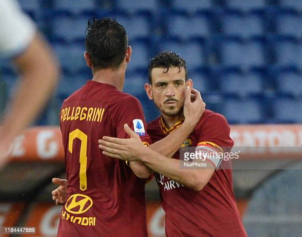 Alessandro Florenzi Lorenzo Pellegrini during the Italian Serie A football match between AS Roma and Brescia at the Olympic Stadium in Rome on...