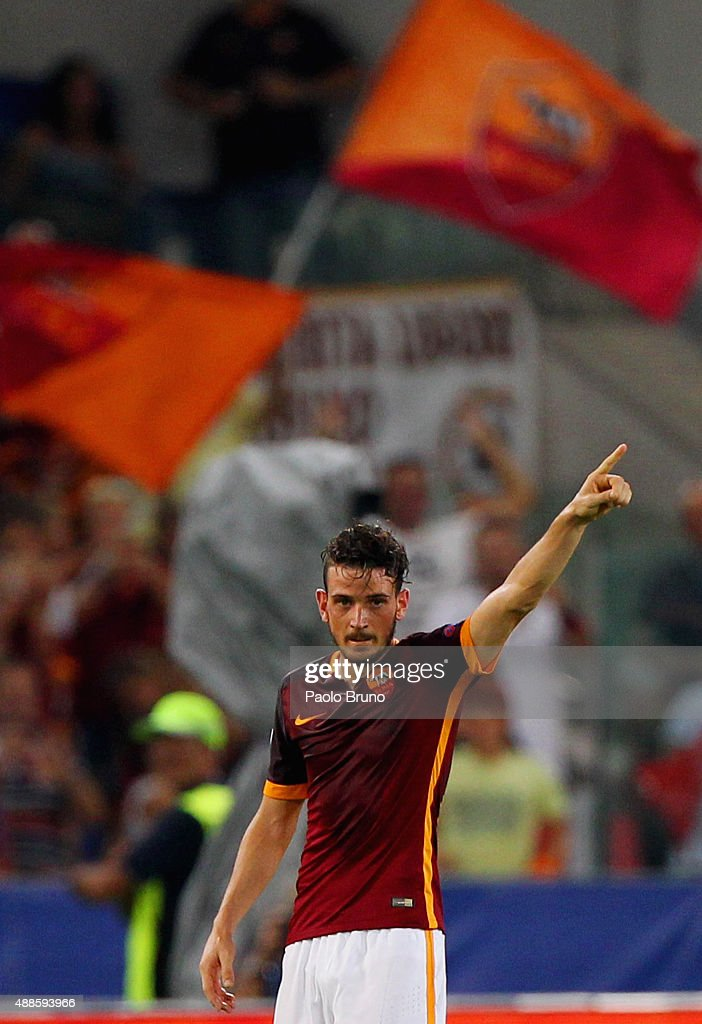 Alessandro Florenzi of AS Roma celebrates after scoring the team's first goal during the UEFA Champions League Group E match between AS Roma and FC Barcelona at Stadio Olimpico on September 16, 2015 in Rome, Italy.