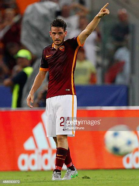 Alessandro Florenzi of AS Roma celebrates after scoring the team's first goal the UEFA Champions League Group E match between AS Roma and FC...