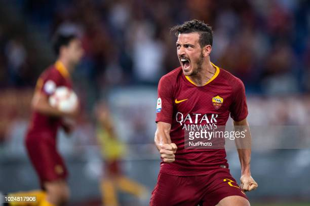Alessandro Florenzi of AS Roma celebrates scoring second goal during Serie A match between AS Roma v Atalanta in Rome Italy on August 27 2018