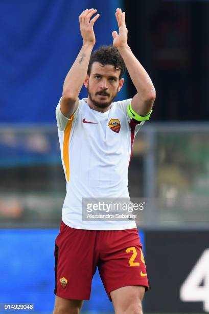 Alessandro Florenzi of AS Roma celebrates the victory after the serie A match between Hellas Verona FC and AS Roma at Stadio Marc'Antonio Bentegodi...