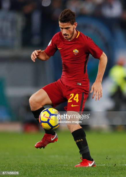 Alessandro Florenzi of AS Roma during the Italian Serie A match between AS Roma v Lazio at the Stadio Olimpico on November 18 2017 in Rome Italy