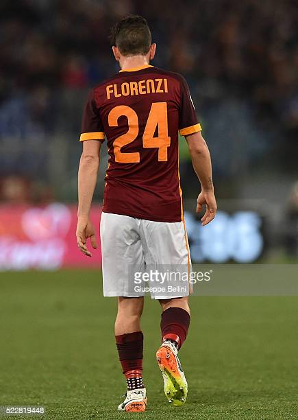 Alessandro Florenzi of AS Roma during the Serie A match between AS Roma and Bologna FC at Stadio Olimpico on April 11 2016 in Rome Italy