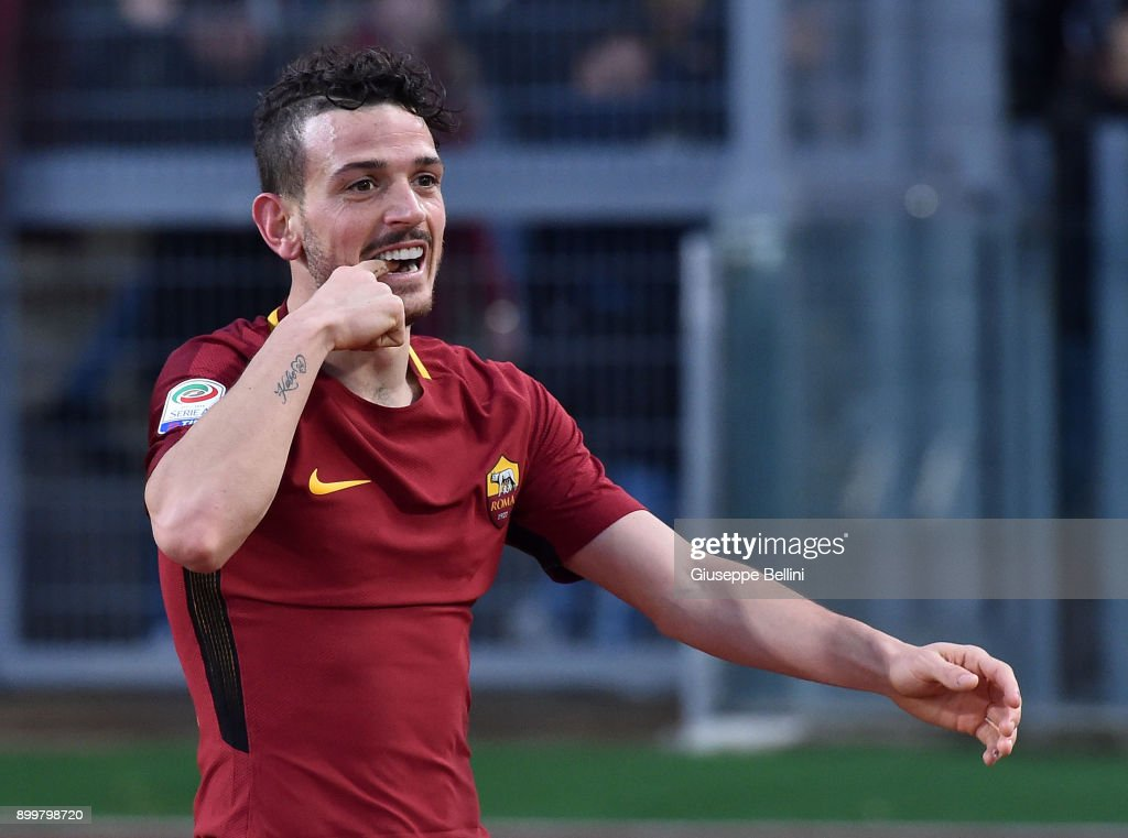 Alessandro Florenzi of AS Roma during the serie A match between AS Roma and US Sassuolo at Stadio Olimpico on December 30, 2017 in Rome, Italy.