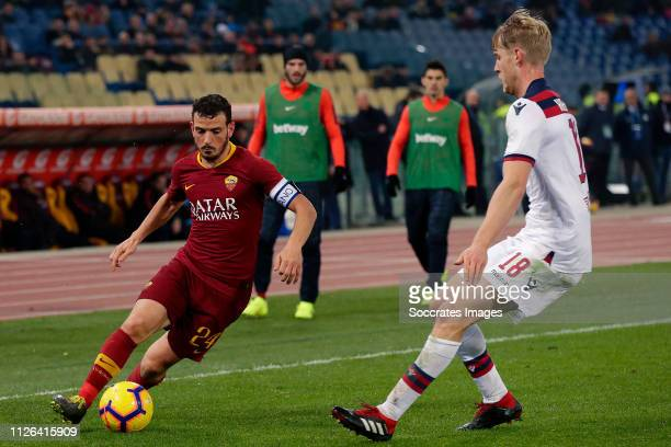 Alessandro Florenzi of AS Roma Filip Helander of Bologna FC during the Italian Serie A match between AS Roma v Bologna at the Stadio Olimpico Rome on...