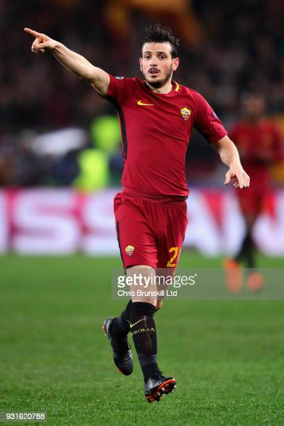 Alessandro Florenzi of AS Roma gestures during the UEFA Champions League Round of 16 Second Leg match between AS Roma and Shakhtar Donetsk at Stadio...