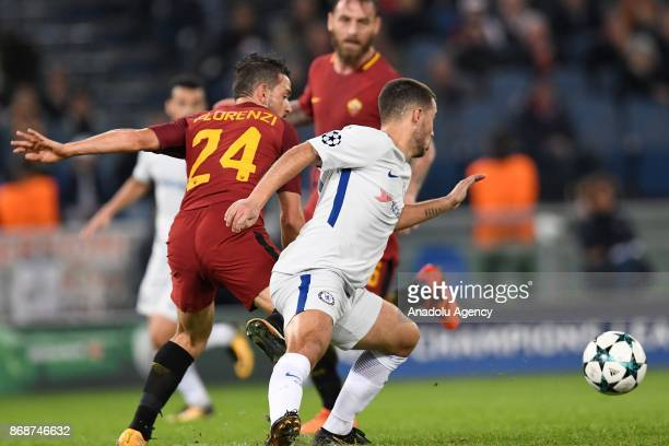 Alessandro Florenzi of AS Roma in action against Eden Azard of Chelsea FC during the UEFA Champions League Group C match between AS Roma and Chelsea...