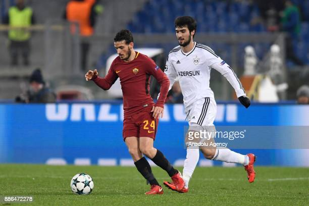 Alessandro Florenzi of AS Roma in action against Michel of Qarabag FK during the UEFA Champions League Group C soccer match between AS Roma and...