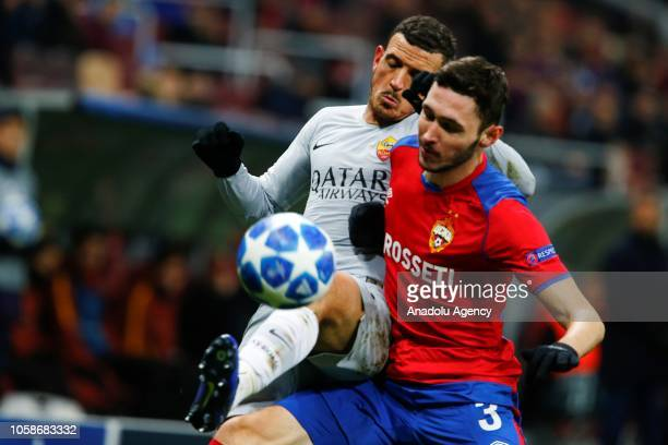 Alessandro Florenzi of AS Roma in action against Nikita Chernov of CSKA Moscow during UEFA Champions League Group G soccer match between CSKA Moscow...