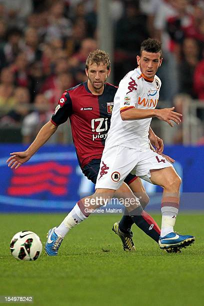 Alessandro Florenzi of AS Roma in action during the Serie A match between Genoa CFC and AS Roma at Stadio Luigi Ferraris on October 21 2012 in Genoa...
