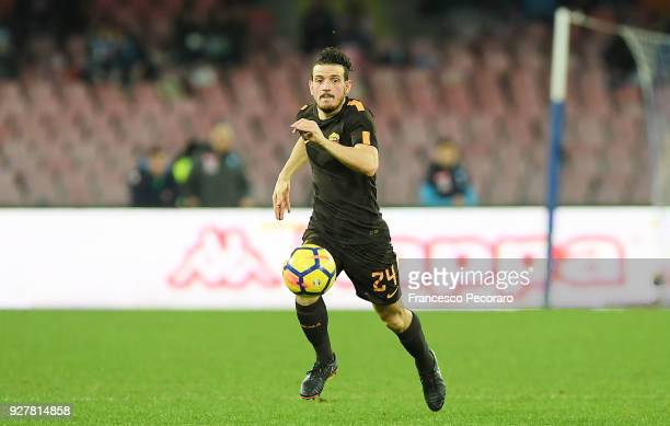 Alessandro Florenzi of AS Roma in action during the serie A match between SSC Napoli and AS Roma Serie A at Stadio San Paolo on March 3 2018 in...
