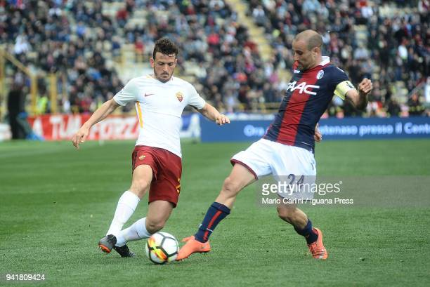 Alessandro Florenzi of AS Roma in action during the serie A match between Bologna FC and AS Roma at Stadio Renato Dall'Ara on March 31 2018 in...