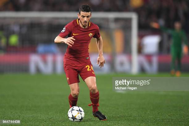 Alessandro Florenzi of AS Roma in action during the UEFA Champions League Quarter Final Second Leg match between AS Roma and FC Barcelona at Stadio...