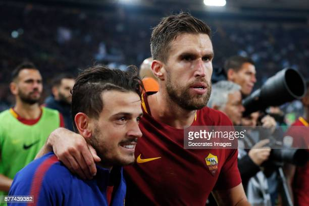 Alessandro Florenzi of AS Roma Kevin Strootman of AS Roma celebrates the victory during the Italian Serie A match between AS Roma v Lazio at the...
