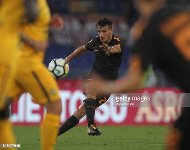 Alessandro Florenzi of AS Roma kicks the ball during the Serie A match between AS Roma and Hellas Verona FC at Stadio Olimpico on September 16 2017...