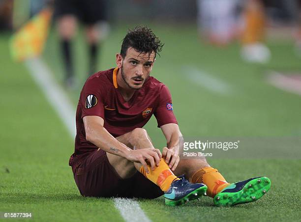 Alessandro Florenzi of AS Roma lies on the ground during the UEFA Europa League match between AS Roma and FK Austria Wien at Olimpico Stadium on...