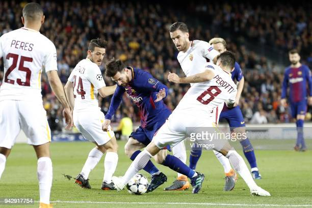 Alessandro Florenzi of AS Roma Lionel Messi of FC Barcelona Kevin Strootman of AS Roma Diego Perotti of AS Roma during the UEFA Champions League...