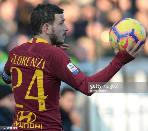 Alessandro Florenzi of AS Roma looks on during the Serie A match between Parma Calcio and AS Roma at Stadio Ennio Tardini on December 29 2018 in...