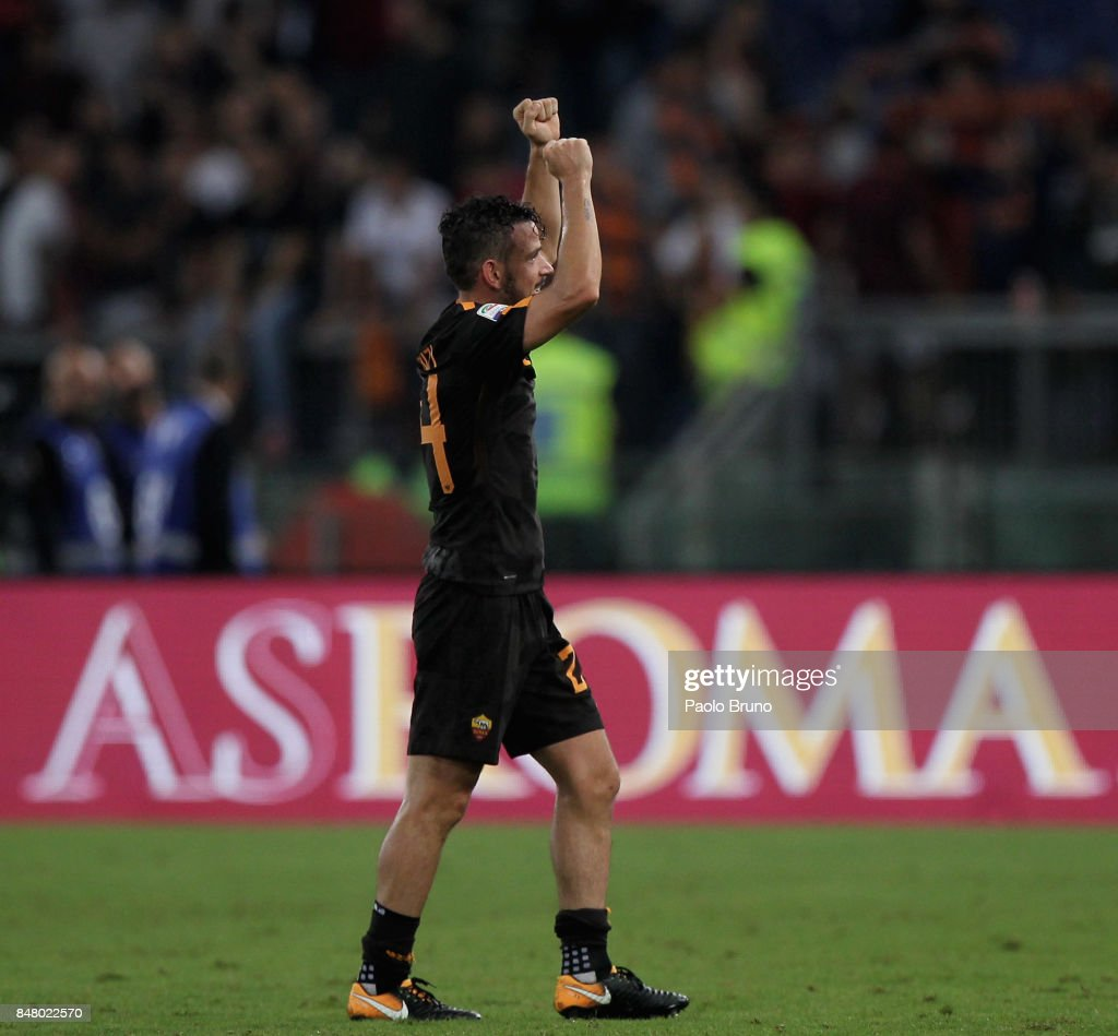 Alessandro Florenzi of AS Roma reacts after the Serie A match between AS Roma and Hellas Verona FC at Stadio Olimpico on September 16, 2017 in Rome, Italy.