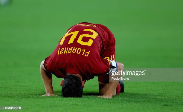 Alessandro Florenzi of AS Roma reacts during the Serie A match between AS Roma and Genoa CFC at Stadio Olimpico on August 25 2019 in Rome Italy