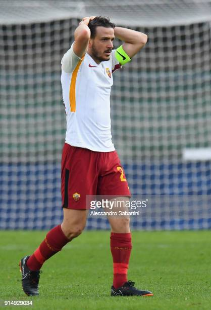 Alessandro Florenzi of AS Roma reacts during the serie A match between Hellas Verona FC and AS Roma at Stadio Marc'Antonio Bentegodi on February 4...