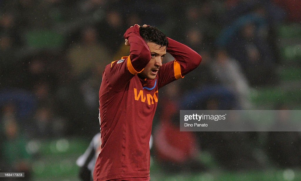 Alessandro Florenzi of AS Roma shows his dejection during the Serie A match between Udinese Calcio and AS Roma at Stadio Friuli on March 9, 2013 in Udine, Italy.