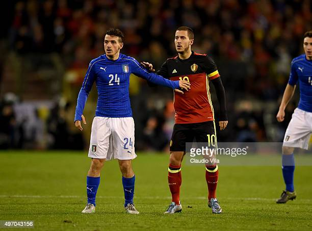 Alessandro Florenzi of Italy and Eden Hazard of Belgium during the intermational friendly match between Belgium and Italy at King Baudouin Stadium on...