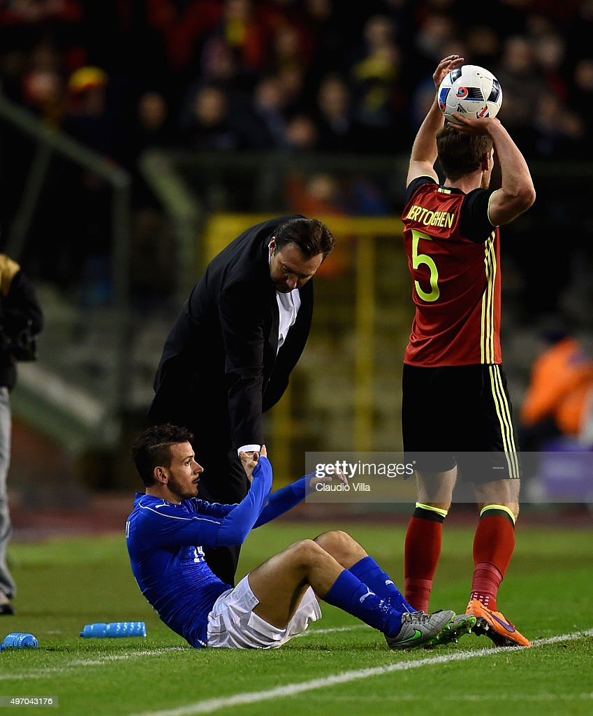 Alessandro Florenzi of Italy (L) and head coach Belgium Marc Wilmots during the intermational friendly match between Belgium and Italy at King Baudouin Stadium on November 13, 2015 in Brussels, Belgium.