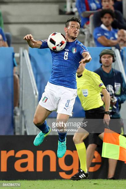Alessandro Florenzi of Italy and Jonas Hector of Germany during the UEFA Euro 2016 Quater Final between Germany and Italy at Stade Matmut Atlantique...