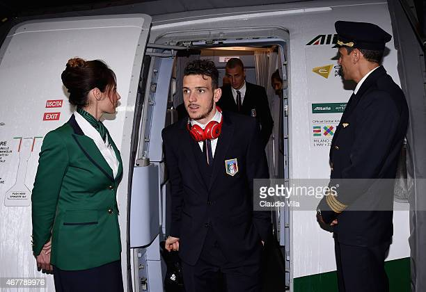 Alessandro Florenzi of Italy arrives at Sofia Airport ahead of their EURO 2016 Qualifier against Bulgaria on March 27 2015 in Sofia Bulgaria