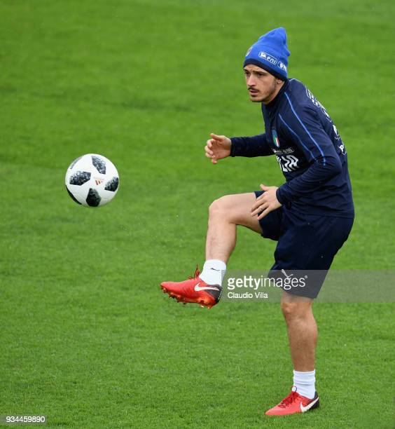 Alessandro Florenzi of Italy in action during a training session at Centro Tecnico Federale di Coverciano on March 19 2018 in Florence Italy