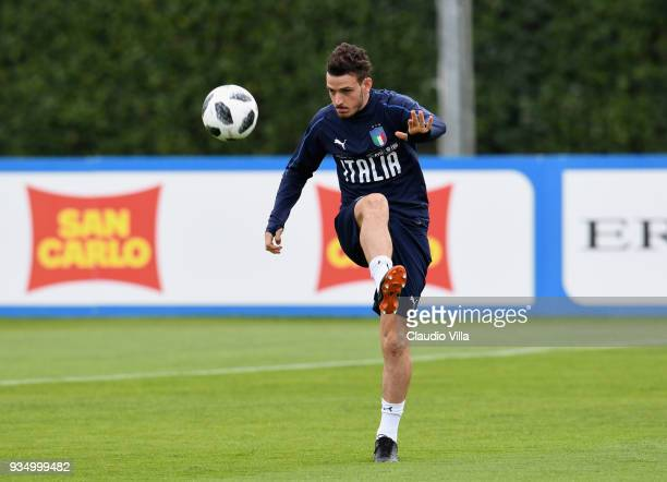 Alessandro Florenzi of Italy in action during a training session at Centro Tecnico Federale di Coverciano on March 20 2018 in Florence Italy